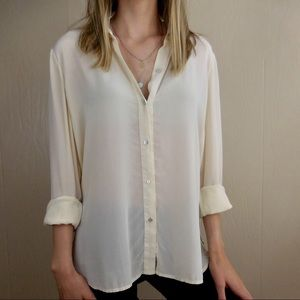 Eileen Fisher Silk Cream Button Down